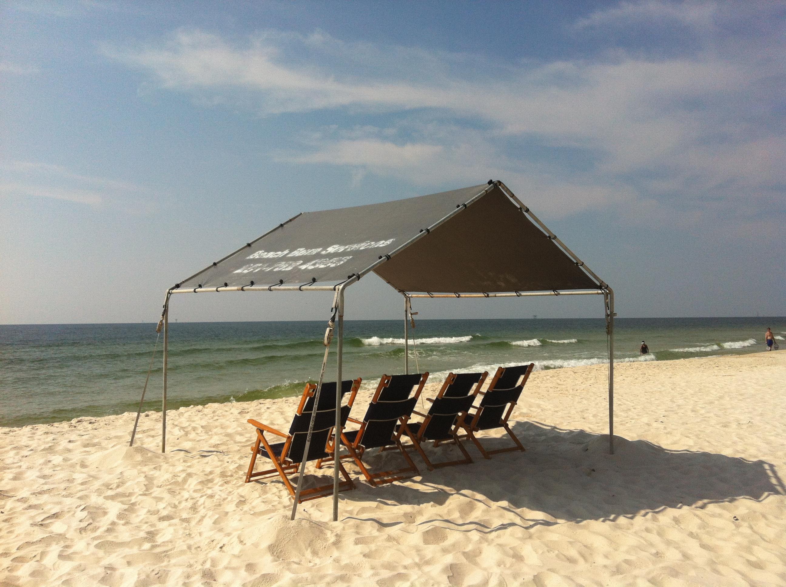 10u2032 x 10u2032 beach canopy and 4 lounge chairs JGMPSRO