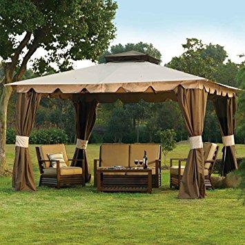 10 x 12 hampton gazebo canopy w/ mosquito netting u0026 privacy panels LTHUWHZ