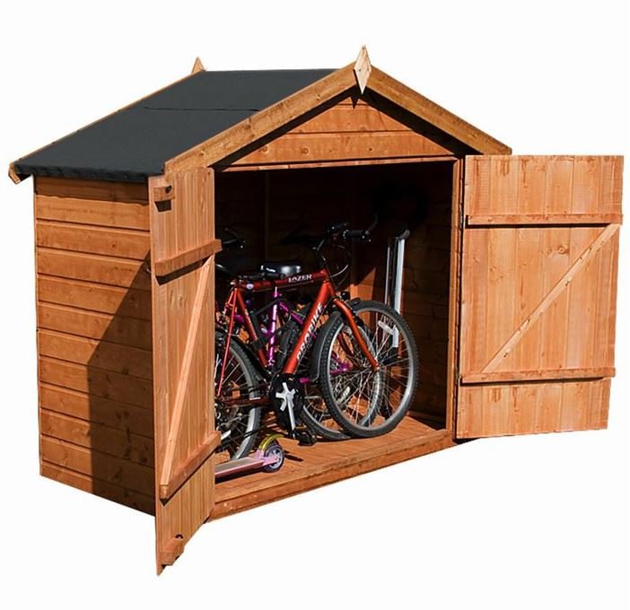 7x3 waltons tongue and groove apex wooden bike shed overall view ACQCJOU