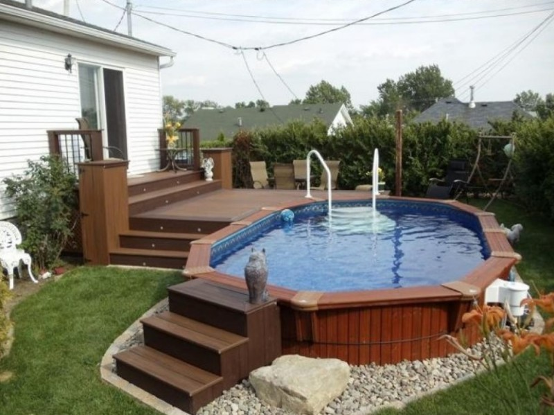 Pros of having an above ground pool with deck yonohomedesign Interesting Swimming Pool Deck Design