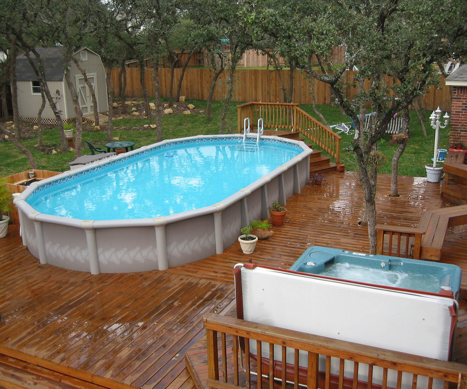 above ground pools with decks above ground pool deck ideas YQDVJYW