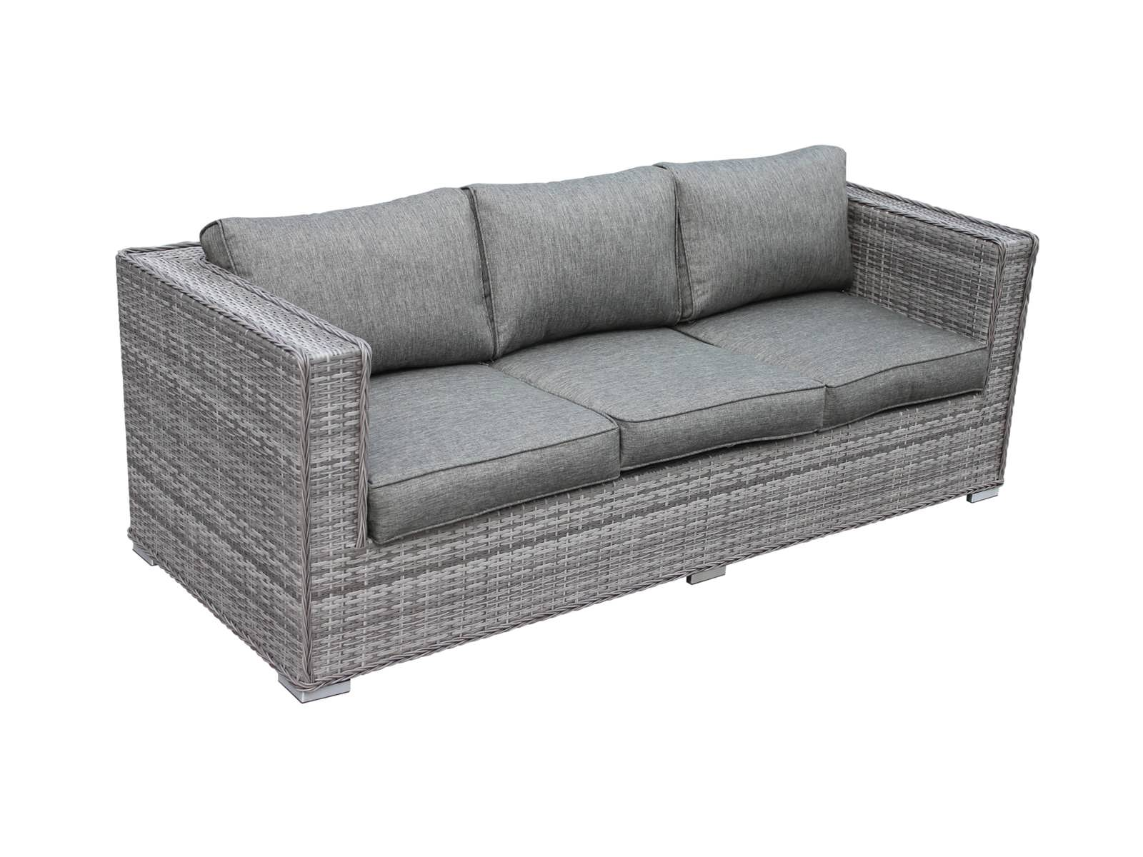 ascot 3 seat outdoor rattan sofa in grey OBULYNR