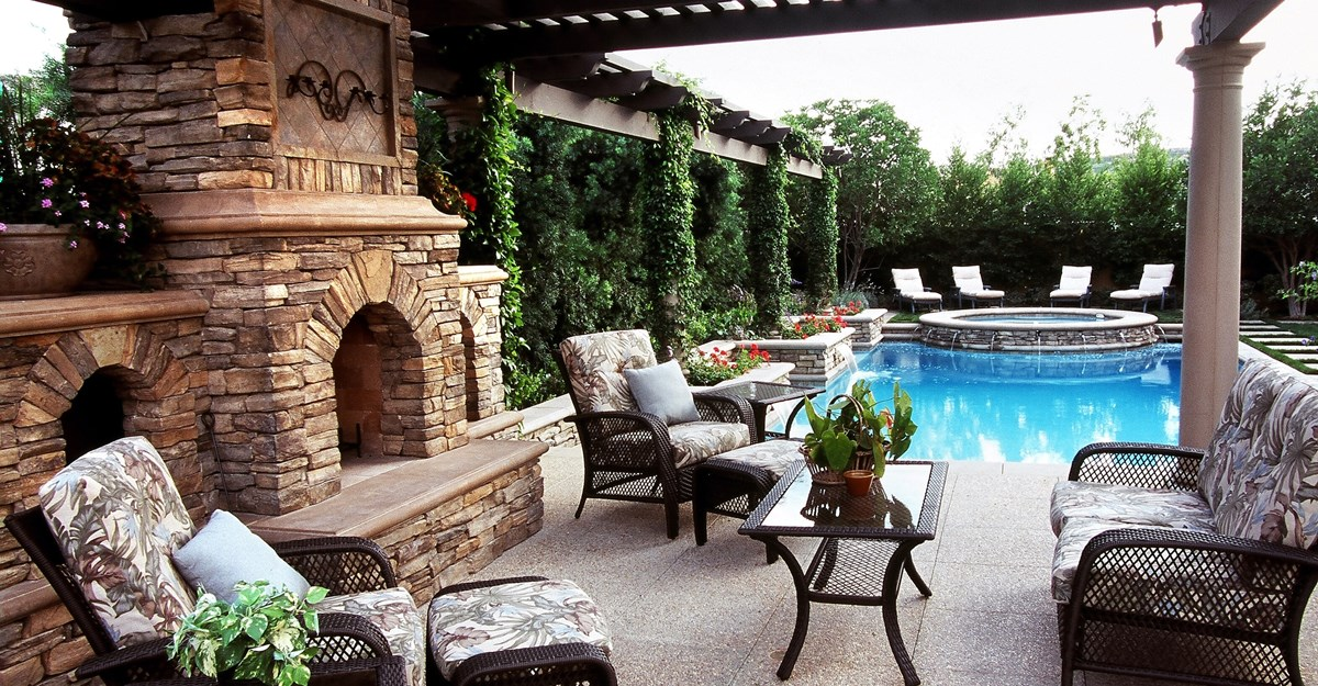 backyard designs poolside, tri level outdoor fireplaces the green scene chatsworth, ca LESMEPW