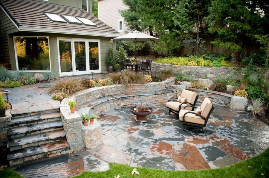 backyard patio ideas rustic, patio, stone, outdoor living, walls, steps, fire pit patio SDXYJMN