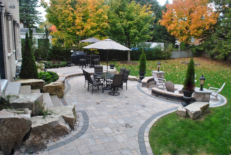 backyard paver patio, backyard boulders backyard landscaping ogs landscape  services whitby, on INPZTGA