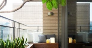 balcony design outside the living room, a beautiful covered terrace acts as a miniature  backyard, complete. SZDLRER