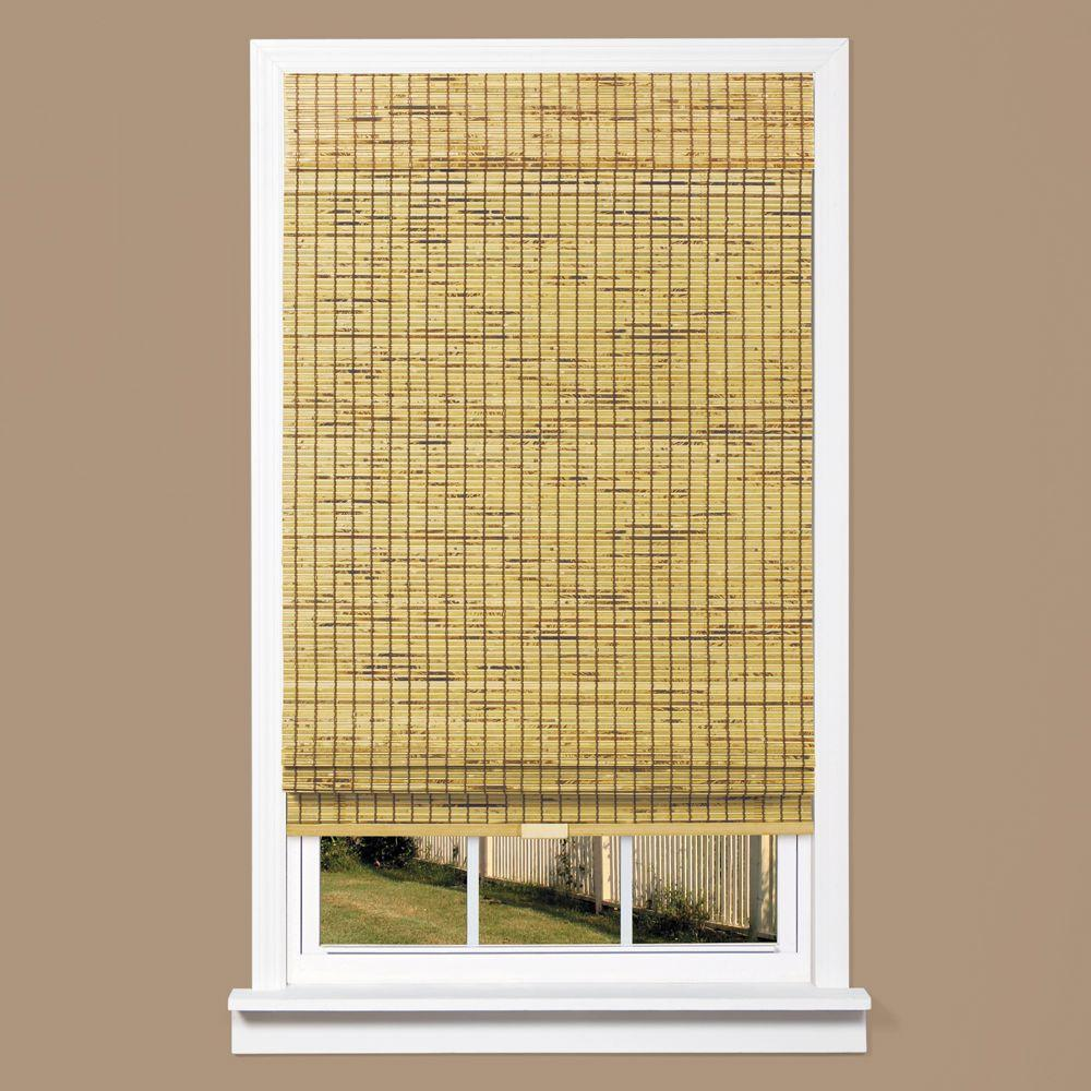 bamboo shades burnout natural woven bamboo cordless roman shade - 43 in. w x 64 in. KJPPUCW