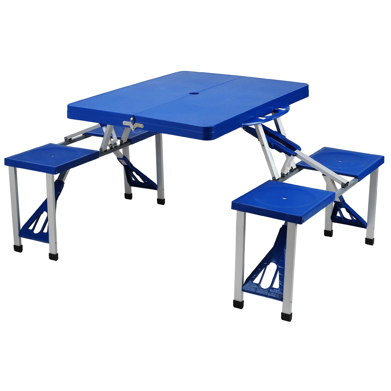 camping table picnic at ascot portable picnic table set, blue IYSALYG