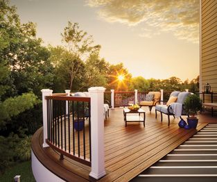 composite decking trex elevations steel deck framing supports a trex transcend  wood-alternative composite deck at sunset BITJDAC