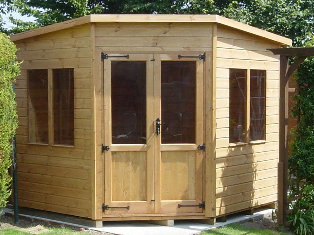 corner shed corner cabin 7x7 plain JFTKQWK