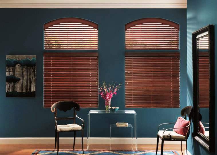 custom shaped arche wood blinds FPRHCGJ