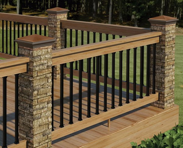 deck railing ideas stone, metal and wood deck railing TVHWFYP