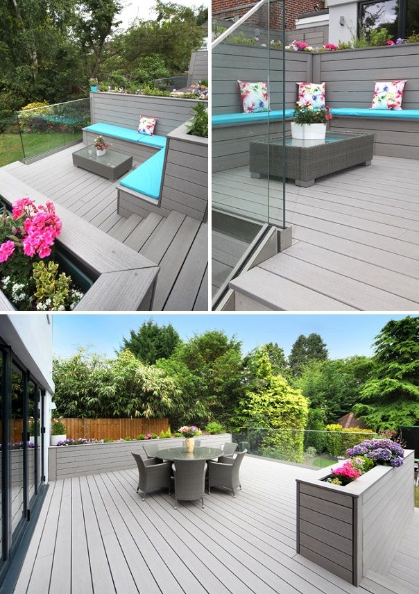 decking ideas vertigrain grey decking (with built-in planters and a frameless glass  balustrade) in CQYLJJU