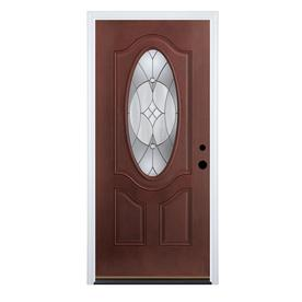 entry doors therma-tru benchmark doors delano 2-panel insulating core oval lite dark  mahogany fiberglass PRYMQYA