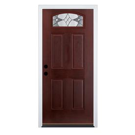 entry doors therma-tru benchmark doors delano 4-panel insulating core morelight dark  mahogany fiberglass stained TBUFIXU