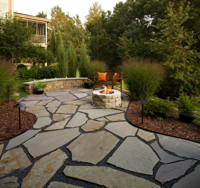 flagstone patio and natural stone fire pit traditional-patio TDQIOYV