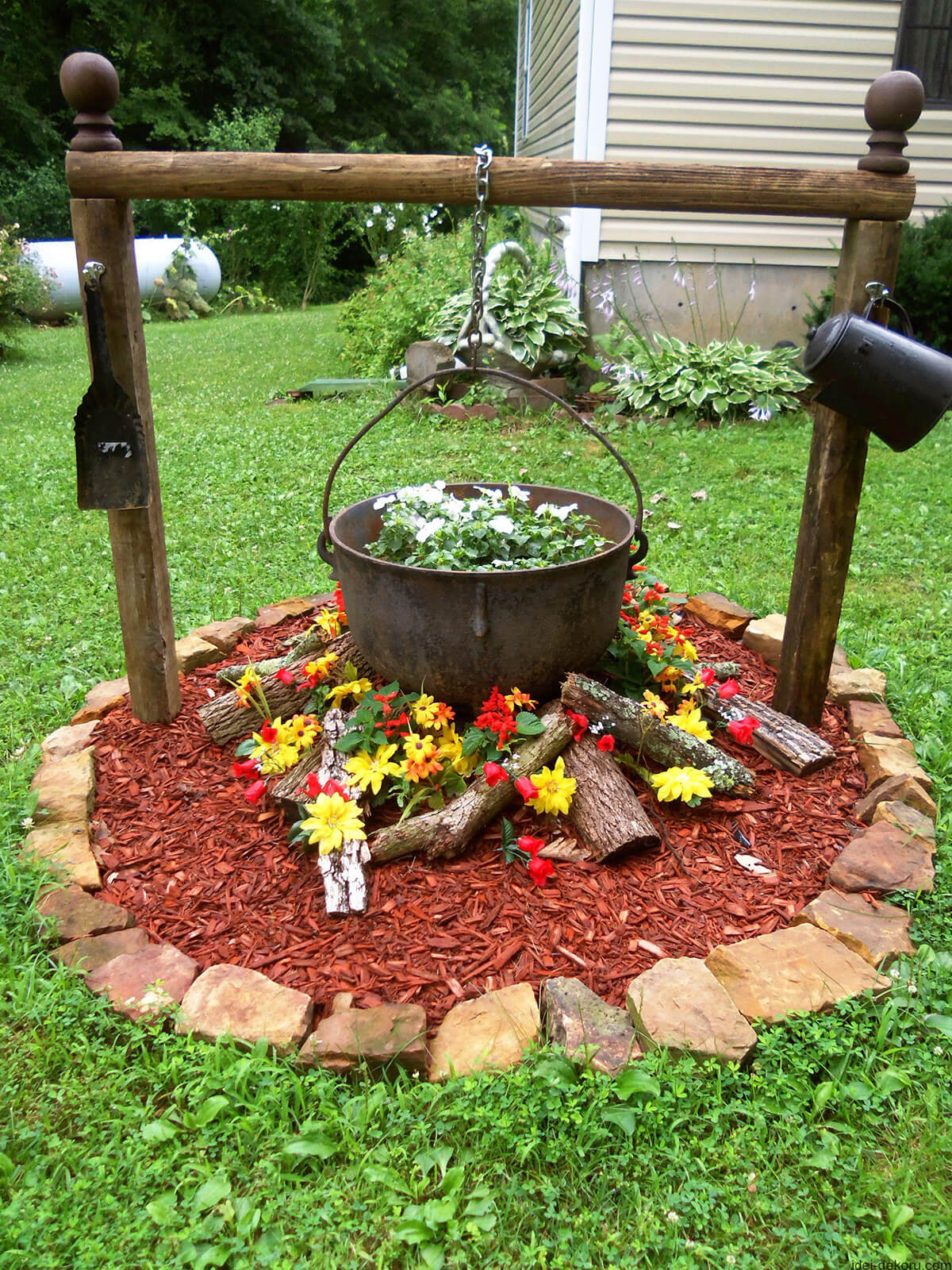 flower bed ideas antique cauldron flower bed design IUUMNTO