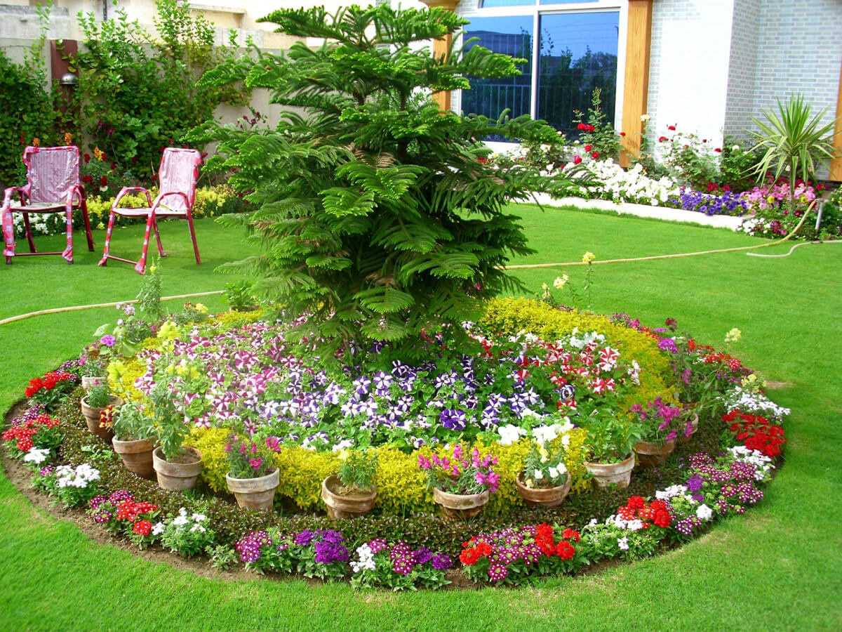 flower bed ideas round flower bed with pots FSXTGTQ