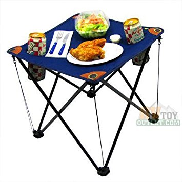 folding camping table folding table with drink holders and carry bag (blue) TZGVUUX
