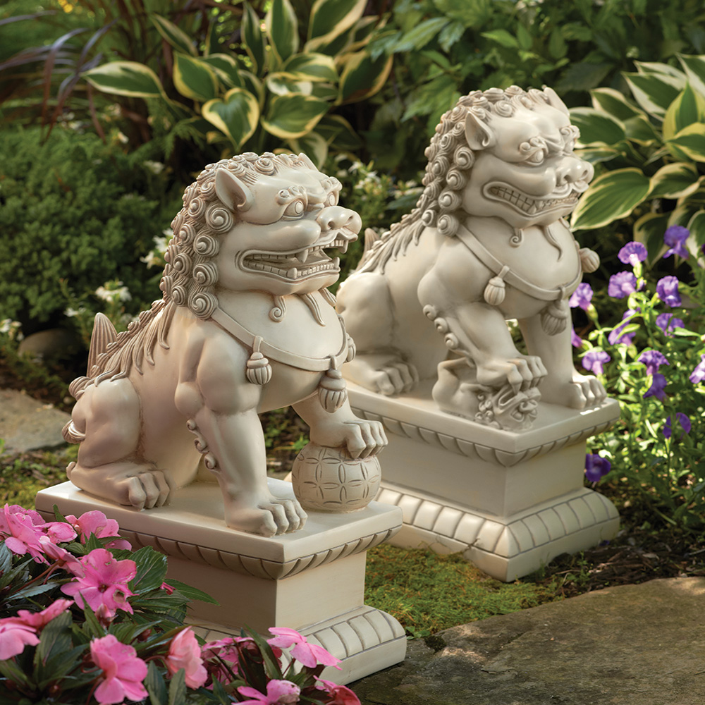 foo dog garden statues, white LCYCMIE