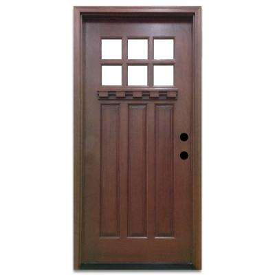 front doors craftsman 6 lite stained mahogany wood prehung front door NTHNDQK