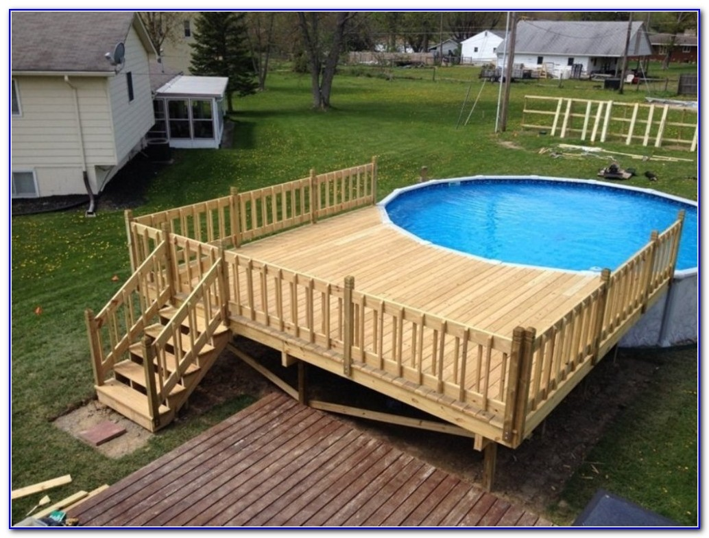 Pros of above ground pool deck plans for Above ground pool decks photos