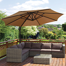 garden parasols setting up some quality cushions can provide you and your guestsu0027  comfortable seating. some wood material PJXRIEO
