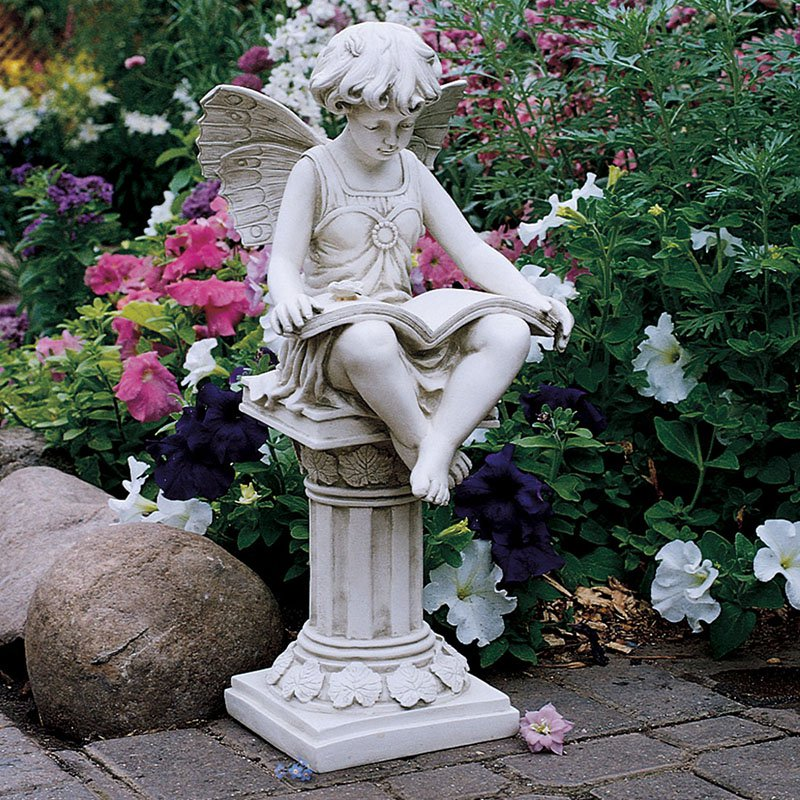 garden statues design toscano the british reading fairy garden statue GYSTVUF