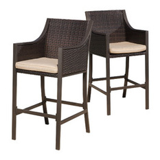 gdfstudio - rani outdoor bar stools, set of 2, brown - outdoor bar stools OAVVQZW
