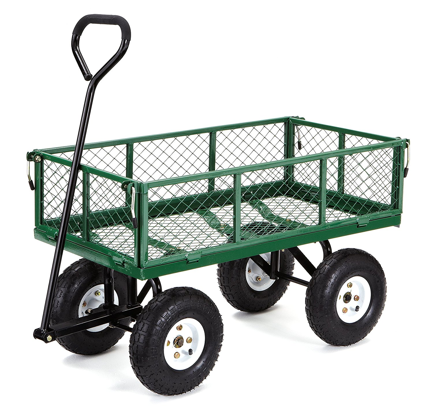 gorilla carts steel garden cart with removable sides with a capacity of 400  lb, green OEFIGFZ