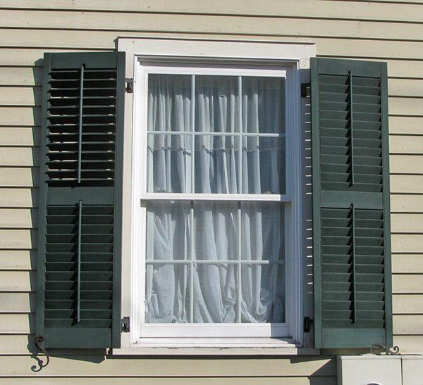 green wood louvered window shutters XRPRQAC