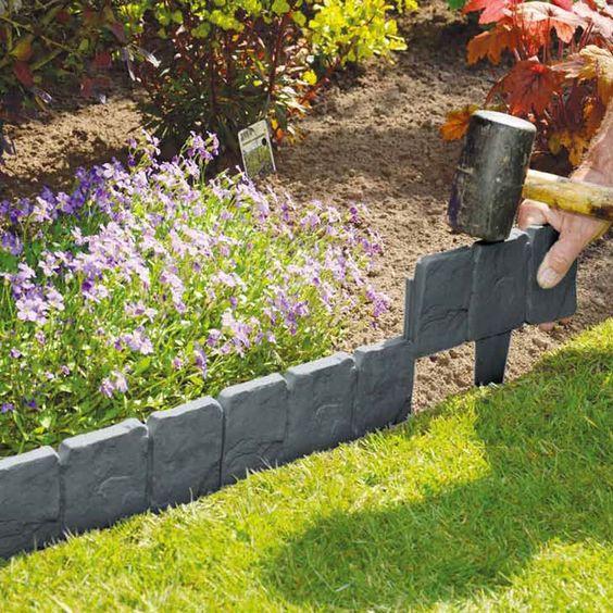 grey cobbled stone plastic garden edging DZWITUS