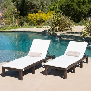 jamaica outdoor chaise lounge with cushion (set of 2) by christopher knight  home FHNVDEL