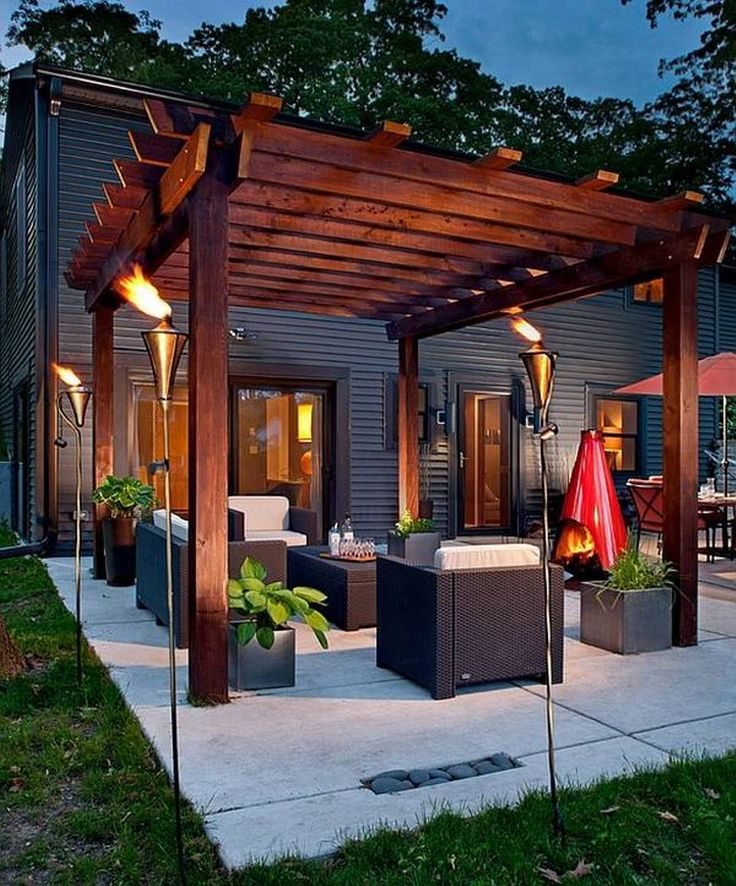 landscaping and outdoor building , beautiful japanese pergola designs :  cedar japanese pergola designs with torches BULDESQ