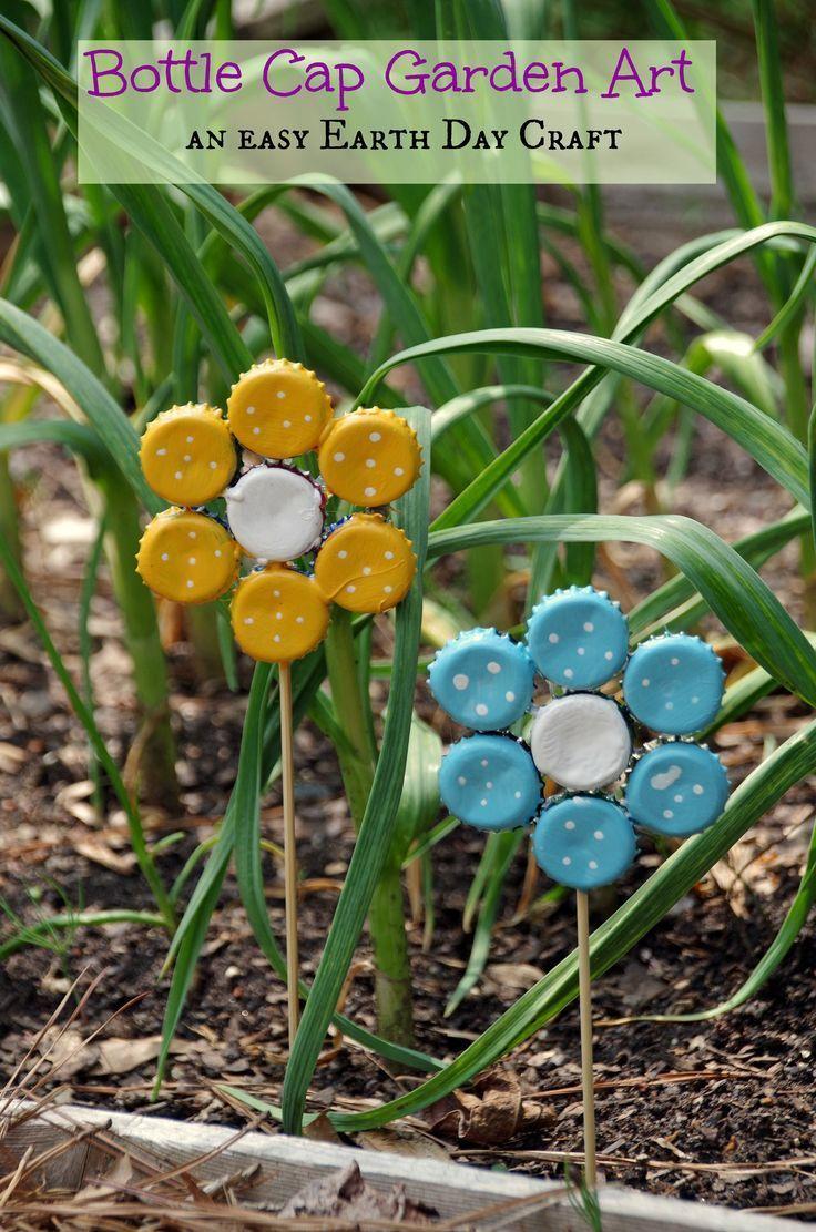 make garden art flowers from old bottle caps! JUGJDGX