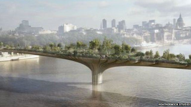 media player artists impression of the garden bridge over the river thames. IVFMUAJ