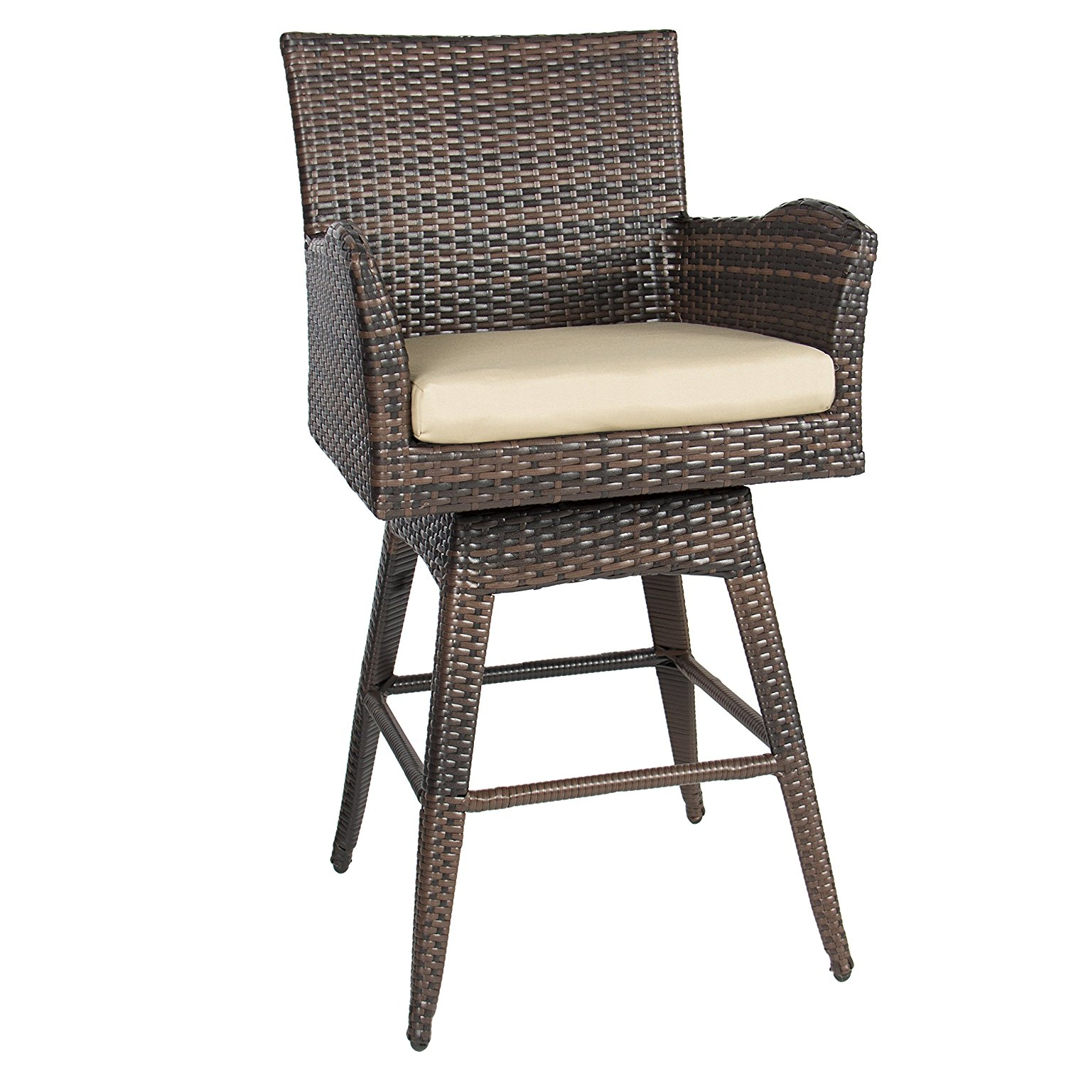 outdoor bar stools best choice products outdoor patio furniture all-weather brown wicker  swivel bar stool with cushion GTKVUPI