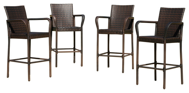 outdoor bar stools stewart outdoor wicker bar stools, set of 4 contemporary-outdoor-bar-stools EHELBYD