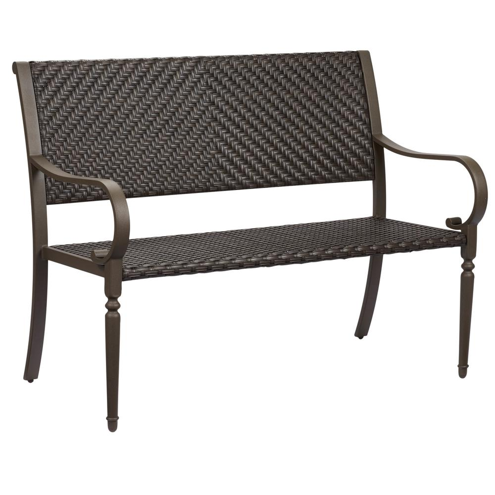 outdoor benches commack brown wicker outdoor bench RDVTBPE