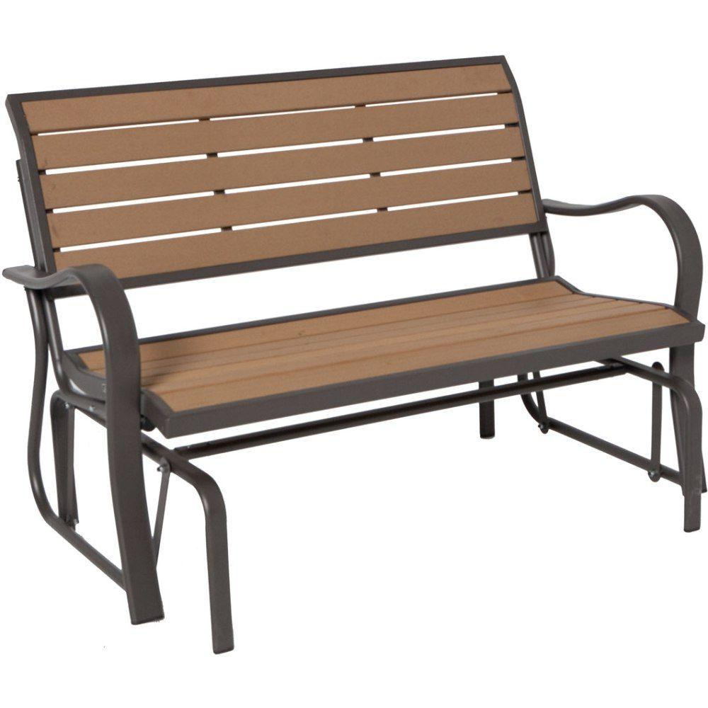 outdoor benches wood alternative patio glider bench WLXTWRB