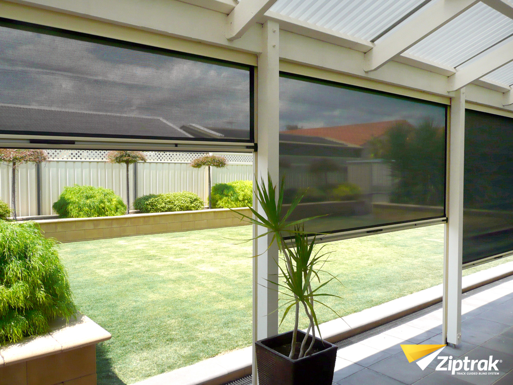 outdoor blinds ziptrak blinds for backyard ACJRTJN
