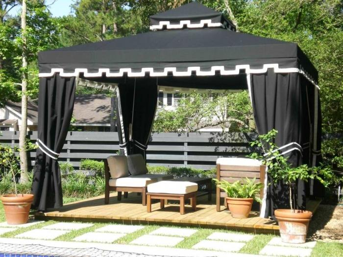 outdoor canopy gothic fabric gazebo canopy with brown white table and chairs ASWOWOJ
