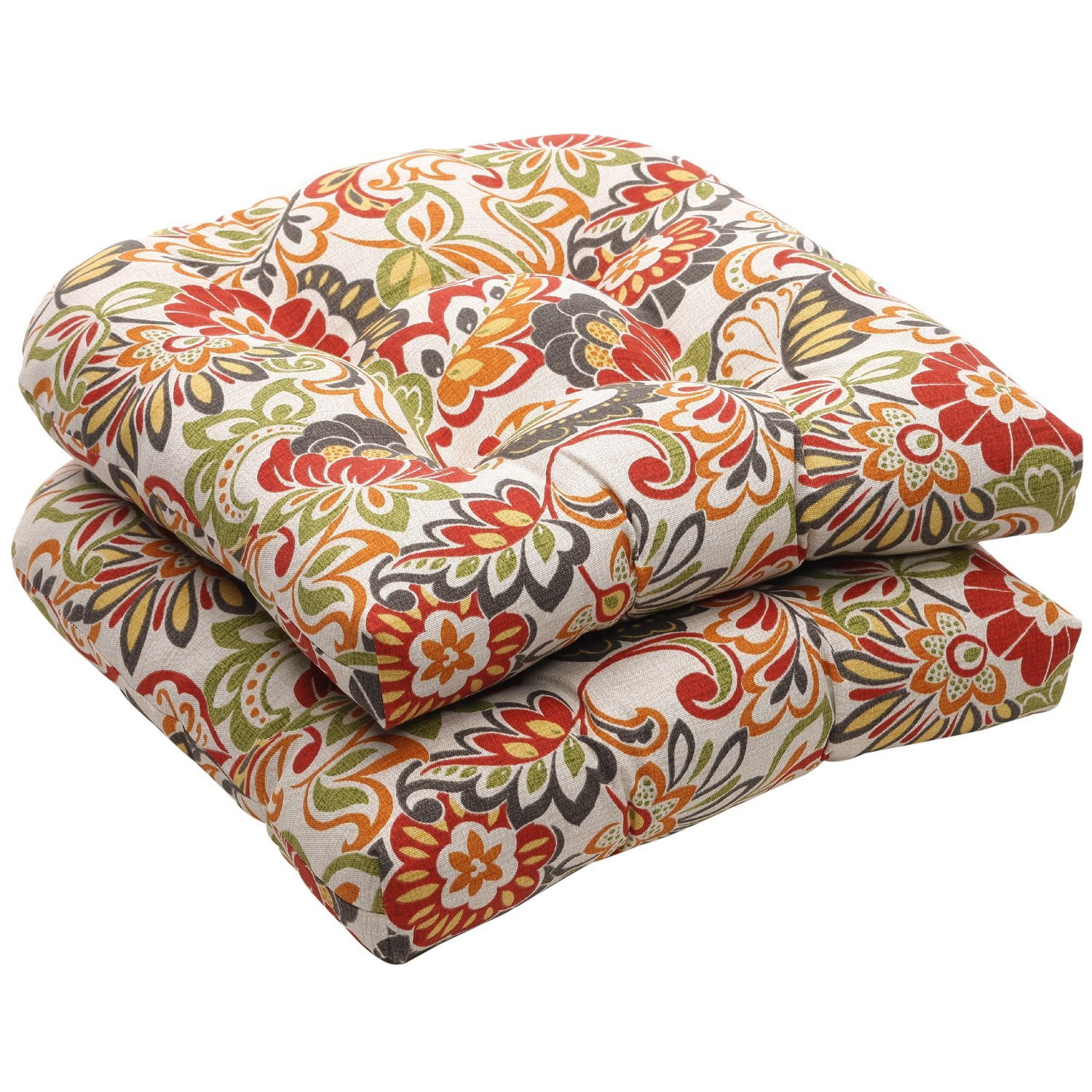 outdoor chair cushions amazon.com: pillow perfect indoor/outdoor multicolored modern floral wicker seat  cushions, 2-pack: home u0026 kitchen PUQANDH