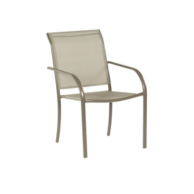 outdoor chairs garden treasures driscol taupe steel stackable patio dining chair with dark  tan sling fabric IQAQLBN