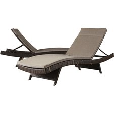 outdoor chaise lounge ferrara chaise lounge with cushion (set of 2) XWVJOEJ