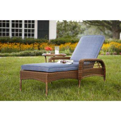 outdoor chaise lounge spring haven brown all-weather wicker patio chaise lounge with sky blue  cushions DHNLRMS
