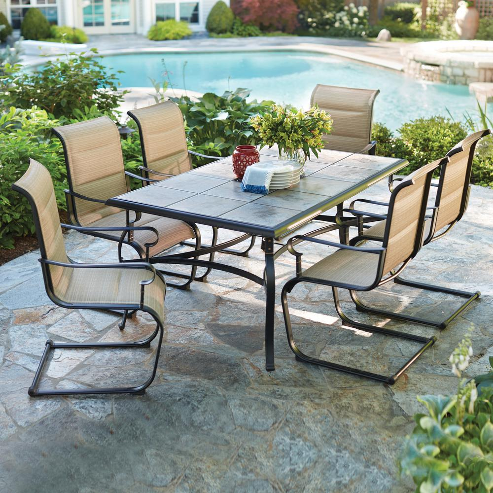 outdoor dining sets belleville 7-piece padded sling outdoor dining set QOXZKAN