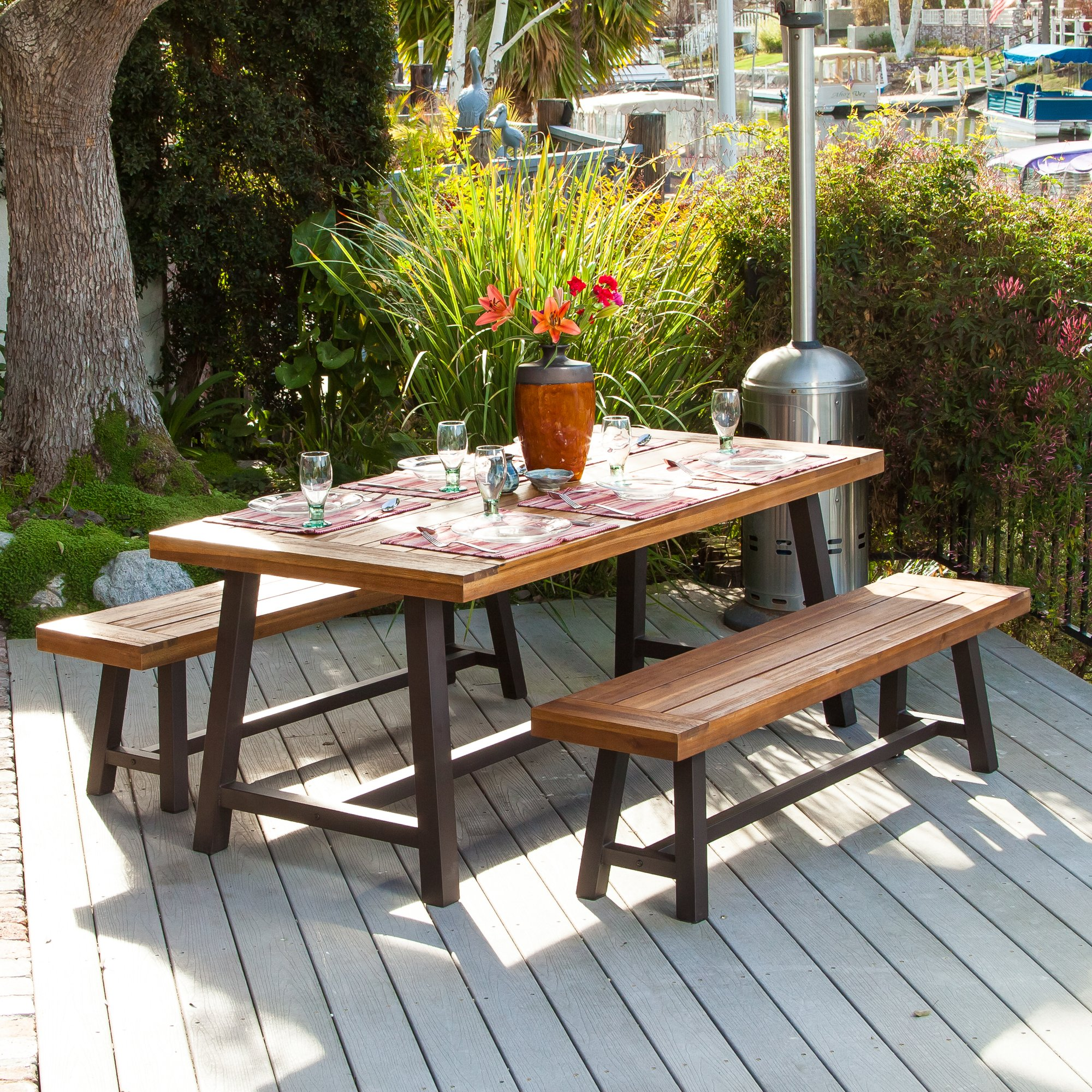 outdoor dining sets quick view. edison rustic metal 3 piece dining set IXSJWCT