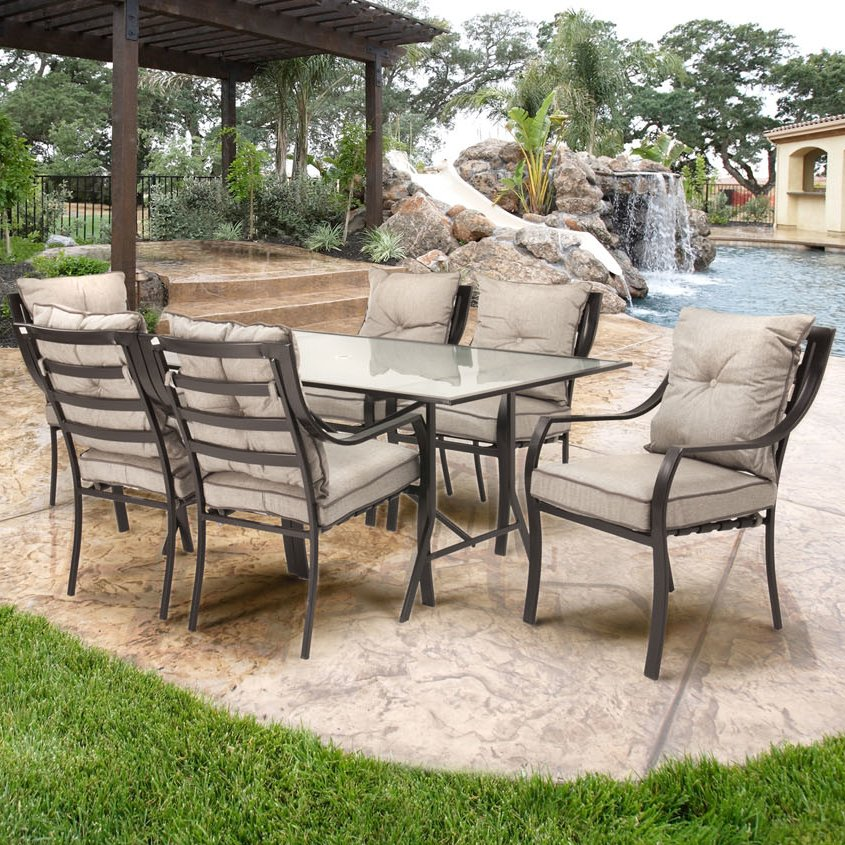 outdoor dining sets sweetman 7 piece outdoor dining set with cushion CUWMFOI
