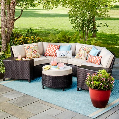 outdoor furniture harrison 7-piece wicker sectional patio seating set - threshold™ ZHYCXGY